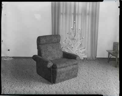 Film negative: R J Harris Limited, chair and Christmas tree