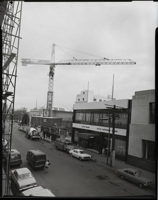 Film negative: Tower crane in Hereford Street