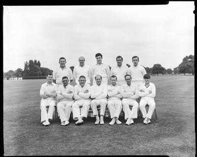 Film negative: Tramways Cricket tourney, group of twelve