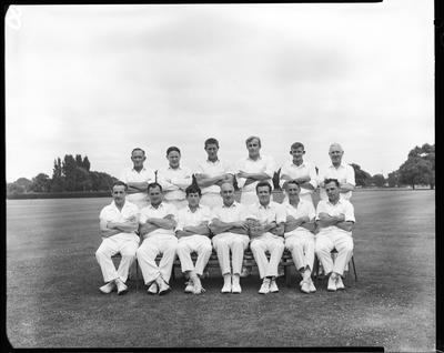 Film negative: Tramways Cricket tourney, group of thirteen