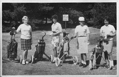 Film negative: Mr C W Webb, four women playing golf