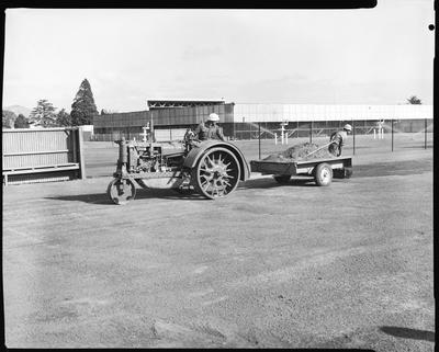 Film negative: International Harvester Company: tractor at Wilding Park