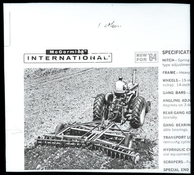 Film negative: International Harvester Company: 46 disc harrows