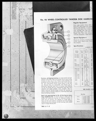 Film negative: International Harvester Company: part of wheel controlled disc harrow, diagram