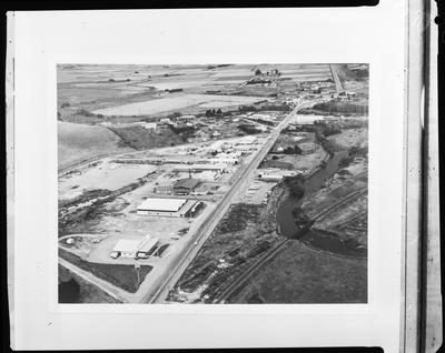 Film negative: International Harvester Company: aerial view of Timaru