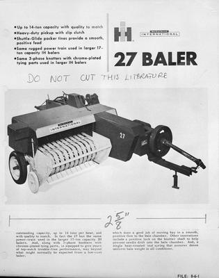 Film negative: International Harvester Company: baler