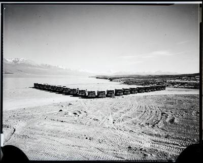 Film negative: International Harvester Company: mow trucks at Pukaki