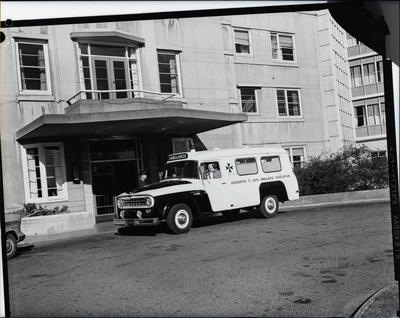 Film negative: International Harvester Company: c-line ambulance, at St Helens Hospital