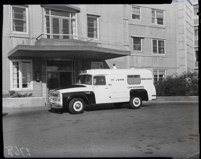 Film negative: International Harvester Company: c-line ambulance, at St Helens Hospital