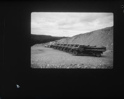 Film negative: International Harvester Company: line-up of Westland CC trucks