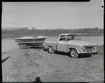 Film negative: International Harvester Company: pick-up truck and jetboat