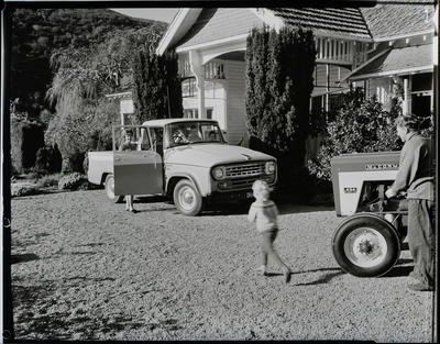 Film negative: International Harvester Company: truck and tractor at homestead