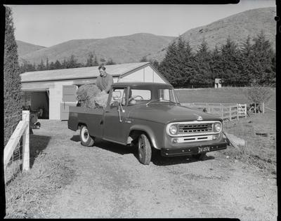 Film negative: International Harvester Company: pick-up truck on farm