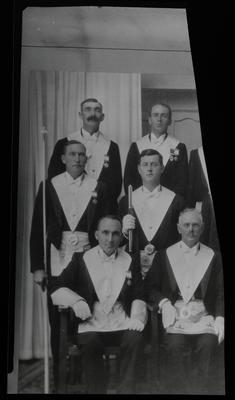 Film negative: Shirley Masonic Lodge, six members