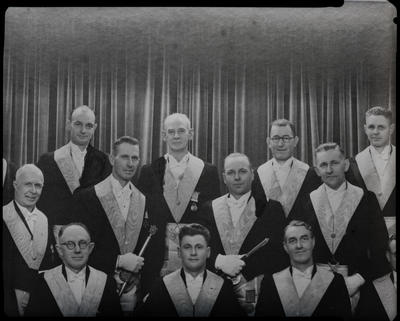 Film negative: Shirley Masonic Lodge, eleven members