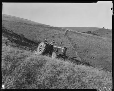 Film negative: 614 tractor at Timaru