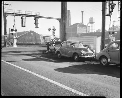 Film negative: Rail crossing