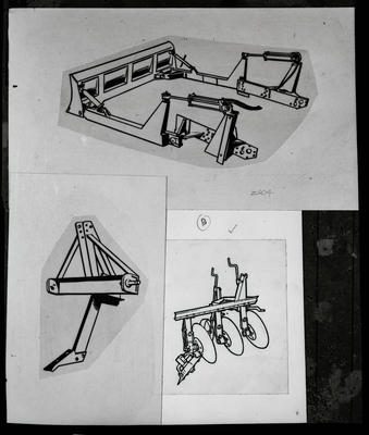 Film negative: International Harvester Company: line drawing of farm attachments