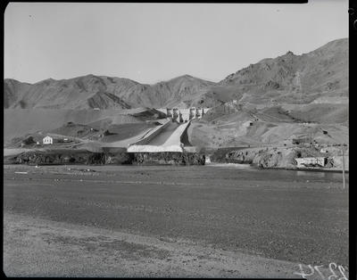 Film negative: International Harvester Company: Benmore Dam, barrier to slow water from spillways