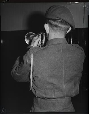 Film negative: Army band, bugler