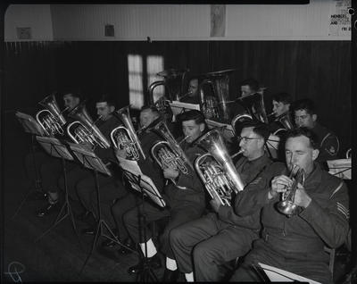 Film negative: Army band, brass section
