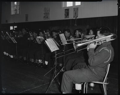 Film negative: Army band, rehearsals