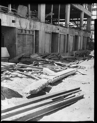 Film negative: Williamson Construction, piles at Police Station