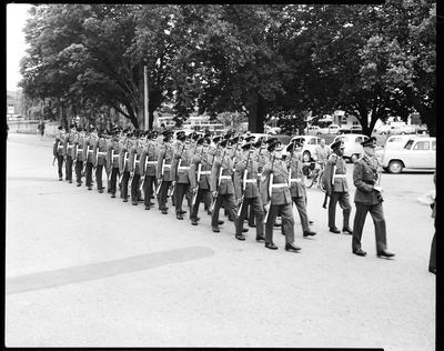 Film negative: Burnham troops and loyal regiment, parade in town