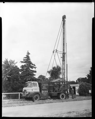 Film negative: A M Bisley and Company, drilling rig at Harewood