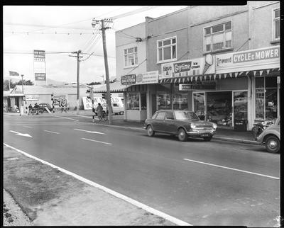 Film negative: Linwood Avenue shops