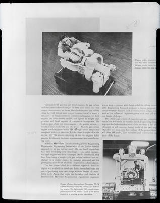 Film negative: International Harvester Company: text and pictures of an engine and chassis