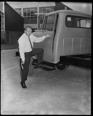 Film negative: International Harvester Company: Mr Little and trucks