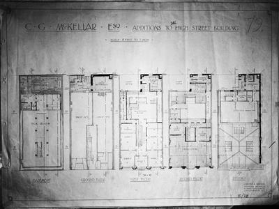 Film negative: Standish and Preece, High Street, plan of building additions
