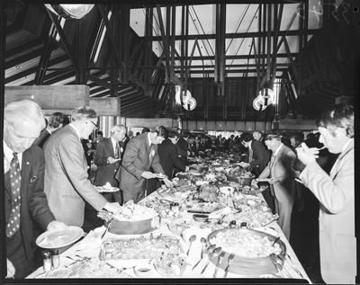 Film negative: International Harvester Company: truck sales convention, delegates at food tables