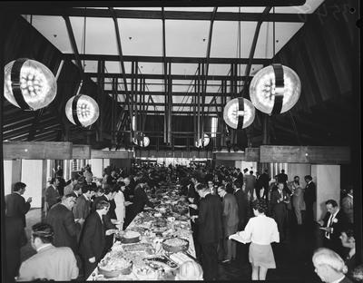 Film negative: International Harvester Company: truck sales convention, delegates at dinner