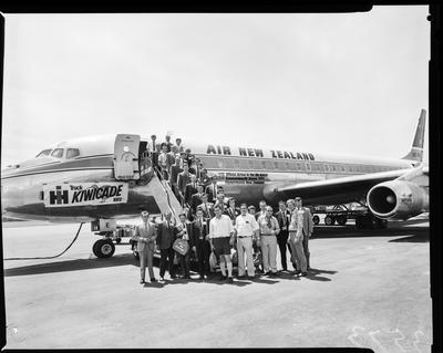 Film negative: International Harvester Company: truck sales convention, at airport