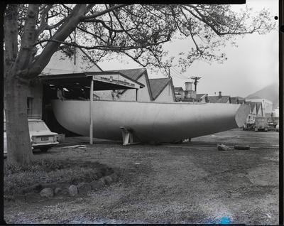 Film negative: Cable Boat Building, boat