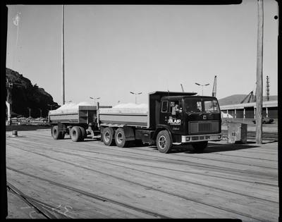 Film negative: Blair Construction, ACCOA truck at Lyttelton