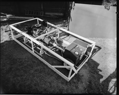Film negative: International Harvester Company: test engine at show