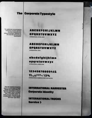 Film negative: International Harvester Company: symbols and lettering