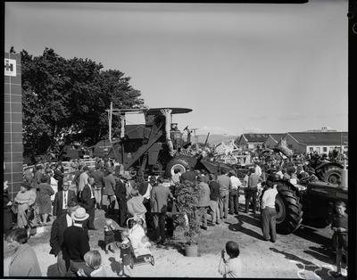 Film negative: International Harvester Company: crowds view stand