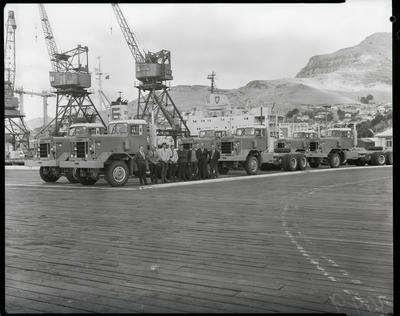 Film negative: International Harvester Company: Pacific trucks at Lyttelton