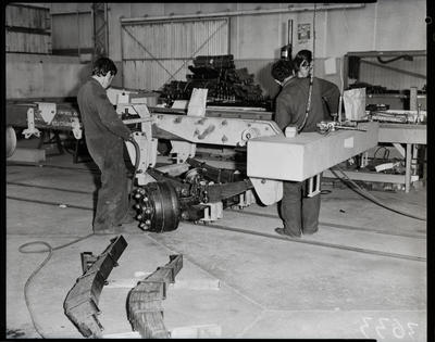 Film negative: International Harvester Company: Pacific trucks on assembly line