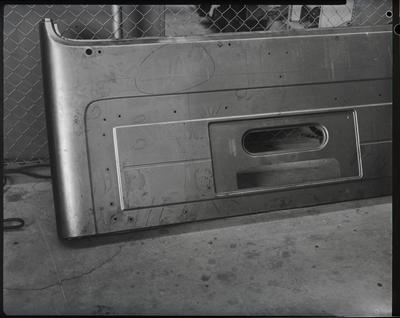 Film negative: International Harvester Company: faulty sheet metal from truck cabs