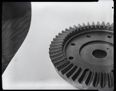 Film negative: International Harvester Company: damaged crown wheel, air filter and base