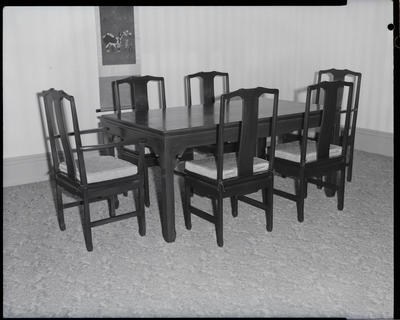 Film negative: B Anderson, table and six chairs