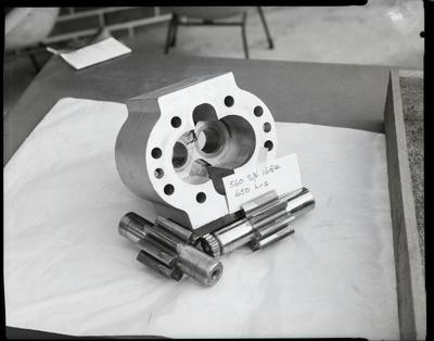Film negative: International Harvester Company: damaged pay hauler pumps