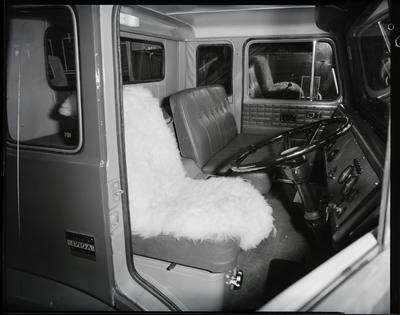 Film negative: International Harvester Company: sheep rug in truck