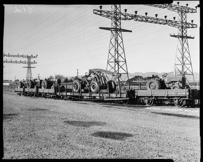 Film negative: International Harvester Company: rail wagons and large scrapers