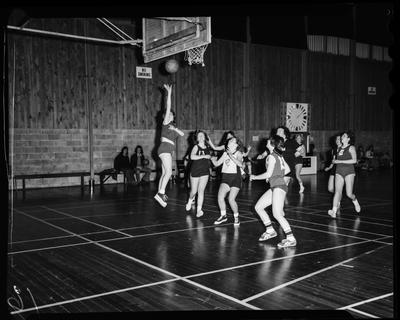 Film negative: Basketball game at Cowles Stadium, August 1976